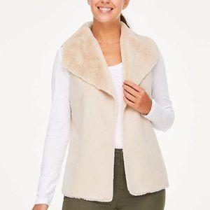 Nwt $108 GRACE Alabaster Large Faux Fur Vest WARM!